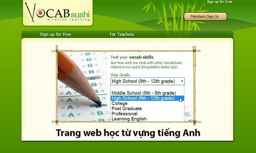 Trang web hoc tu vung tieng Anh