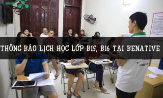 Benative thông báo lịch học lớp B15, B16 tiếng Anh giao tiếp cơ bản