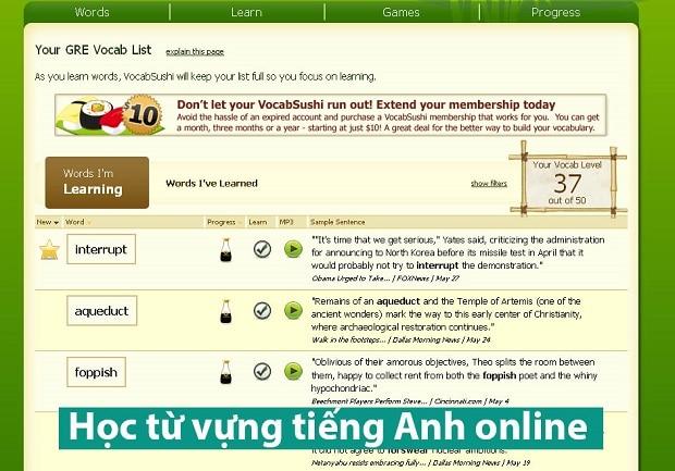 Trang web học từ vựng tiếng Anh online